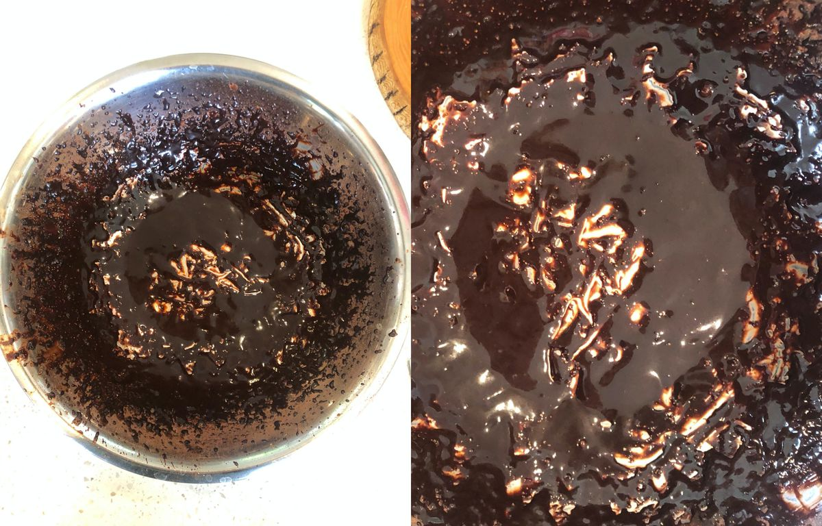 Bowl of cocoa powder and water whipped into a mess.