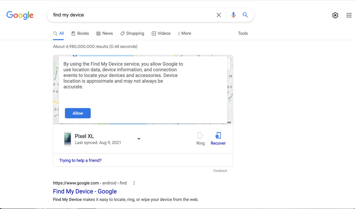 After giving permission, you may be able to ring your phone directly from the Google search page.