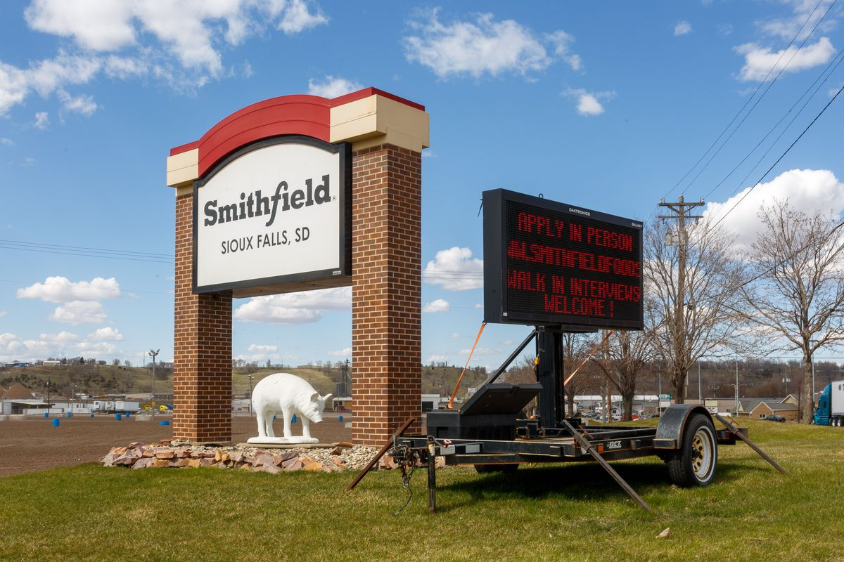 Smithfield Foods pork processing plant sign.