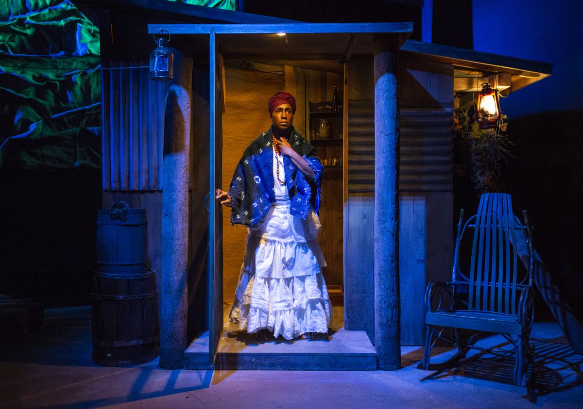 """Shariba Rivers in a scene from Raven Theatre's production of """"Hoodoo Love."""""""