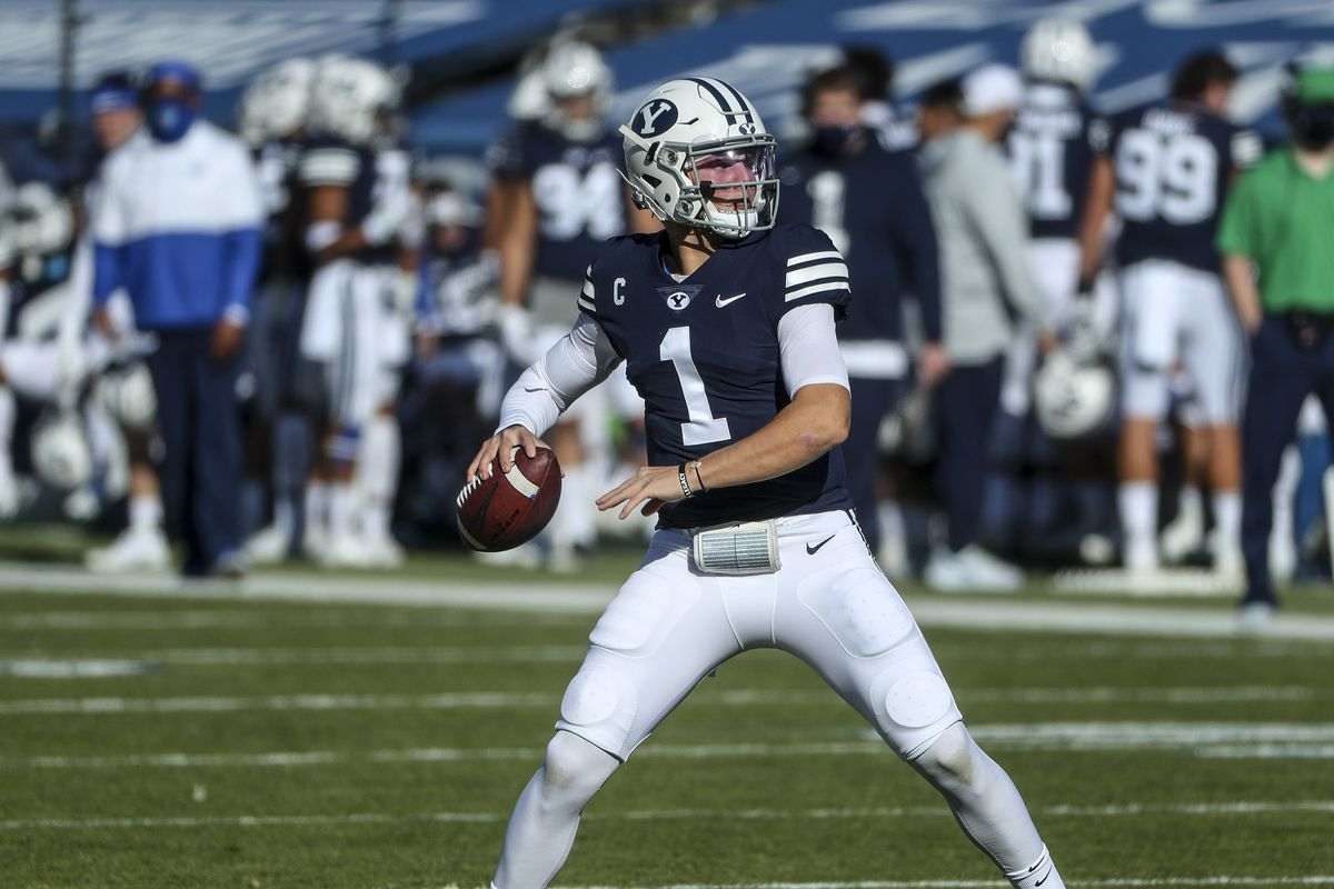 Brigham Young Cougars quarterback Zach Wilson looks to throw down the field during a game against North Alabama in Provo on Saturday, Nov. 21, 2020.