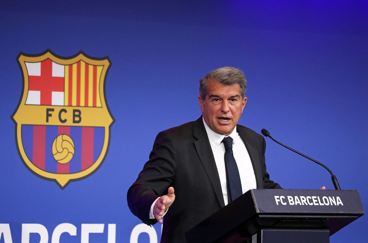 President of FC Barcelona Joan Laporta Press Conference