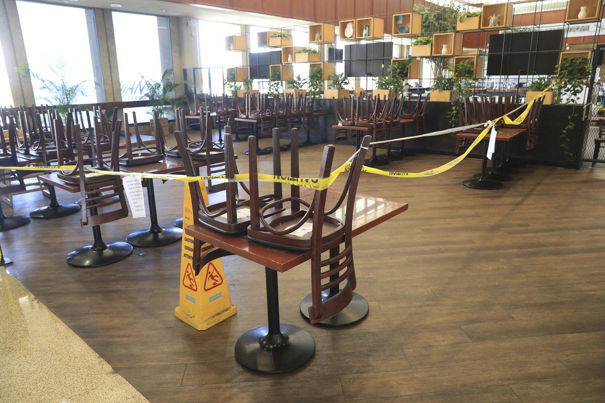 A restaurant remains closed inside the Daniel K. Inouye International Airport Thursday, Oct. 15, 2020, in Honolulu.