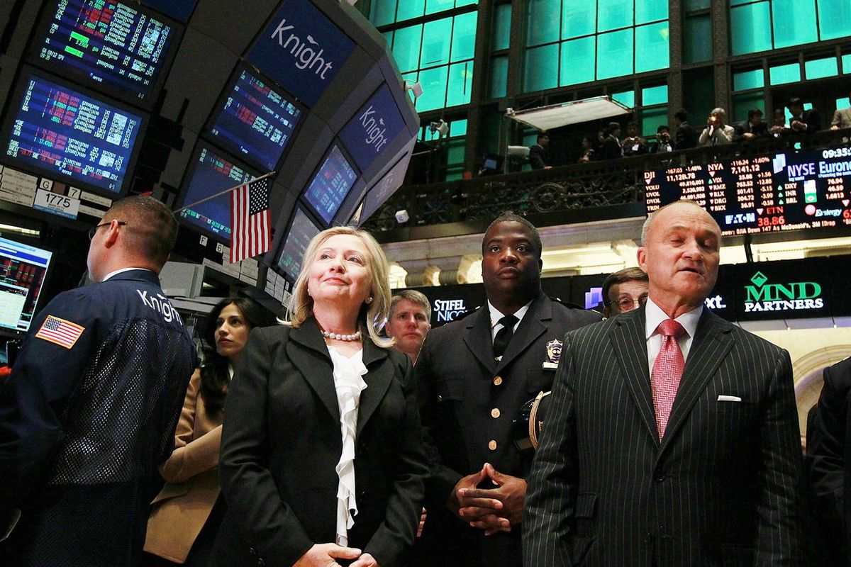 Hillary Clinton with then-New York City Police Commissioner Ray Kelly on the floor of the New York Stock Exchange in September 2011.