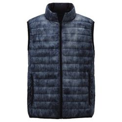 """<strong>Uniqlo</strong> Ultra Light Down Vest in Blue Denim Print, <a href=""""http://www.uniqlo.com/us/store/lifewear/men-ultra-light-down-vestprint/080246-67?ref=mens-clothing"""">$49.90</a>"""