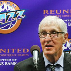 Former Jazz head coach Jerry Sloan answers a question as he, former Utah Jazz great John Stockton and Jazz owner Gail Miller attend a press conference as the 1997 Western Conference Champions reunite on Wednesday, March 22, 2017.