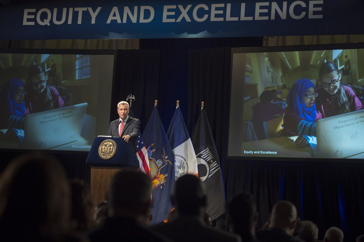 """Mayor Bill de Blasio delivers an education speech, """"Equity and Excellence,"""" at Bronx Latin School, which included a new computer science initiative."""