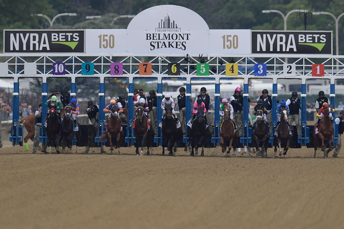 Horses leave the starting gate during the running of the 150th Belmont Stakes at Belmont Park.
