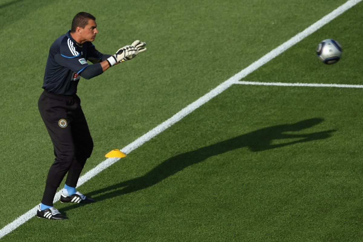 COMMERCE CITY, CO - JUNE 04:  Goalkeeper Faryd Mondragon #1 of the Philadelphia Union warms up prior to facing the Colorado Rapids at Dick's Sporting Goods Park on June 4, 2011 in Commerce City, Colorado.  (Photo by Doug Pensinger/Getty Images)