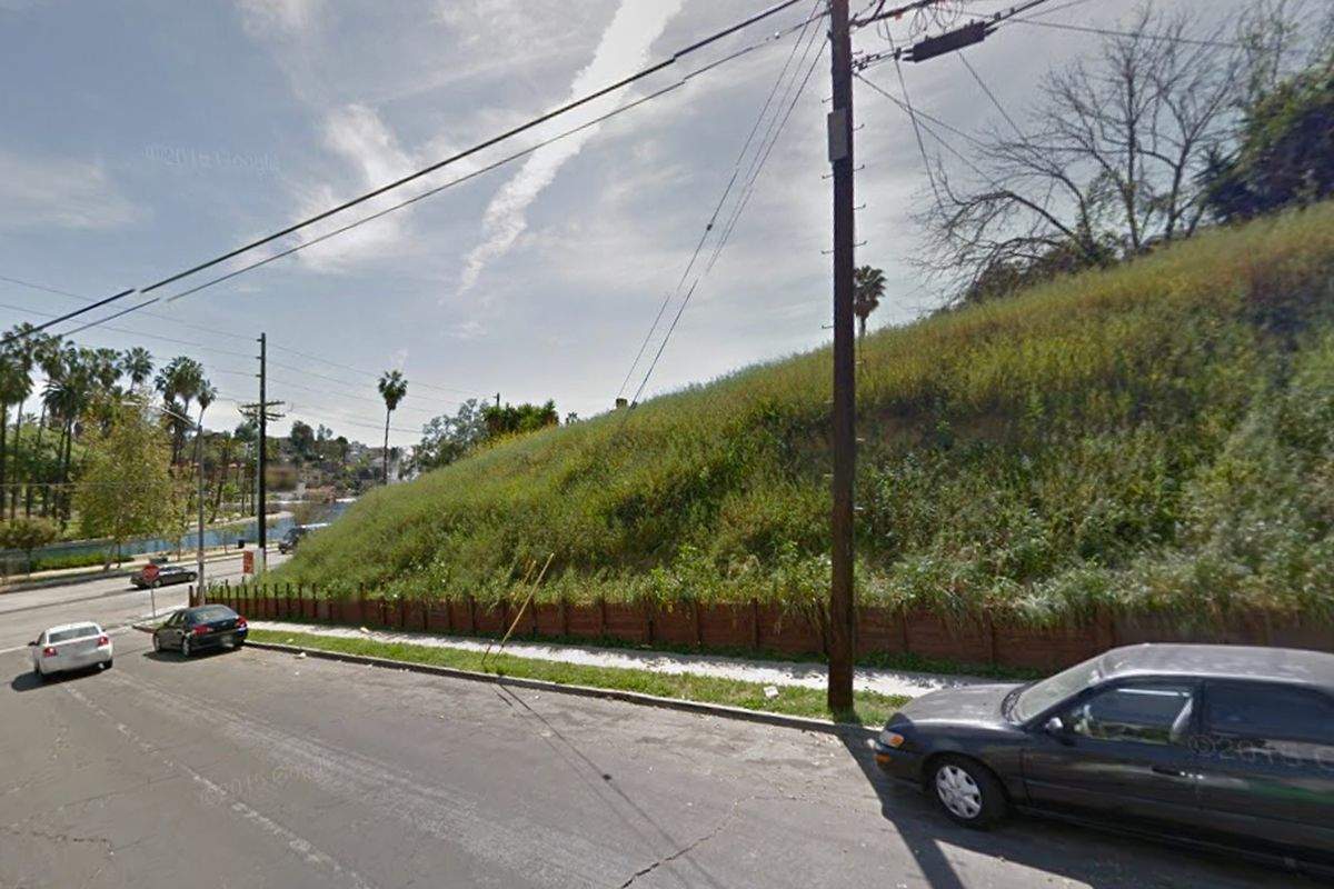 Echo Park lot with lake in background