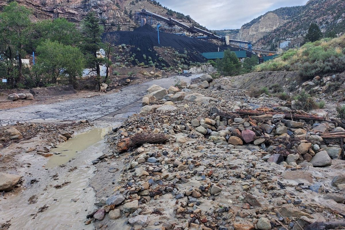 Emery County crews clean up after a flash flooding event near the Gentry Mountain Mine that killed one man on Sunday.