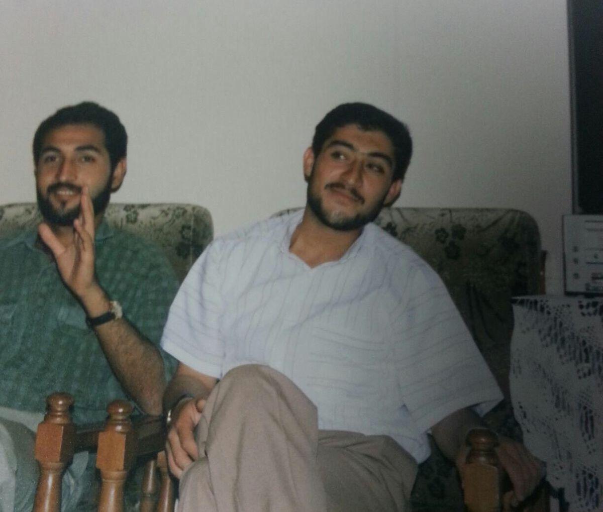Alkasem, in the white shirt, with a college friend in Syria (Photo courtesy RiyadAlkasem)