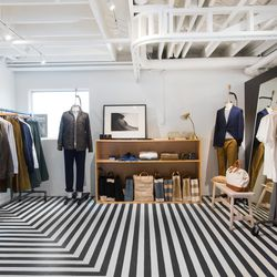 A second room houses Apolis's globally-minded menswear and the Nomad Market, which showcases the brand's socially-conscious efforts.