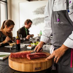 The (newly renamed) Nara Sushi & Korean Kitchen is offering up some new meat dishes in their Korean Grill Room. Chef Donald Chang has added a revamped summer menu, which now includes massive shareable plates. Among them is the Tomahawk Wagyu, sliced and r