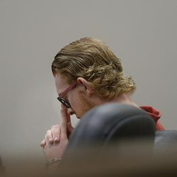 Tyerell Przybycien, 18, of Spanish Fork, sits during an evidence hearing in Provo's 4th District Court on Wednesday, Aug. 23, 2017. Przybycien is charged with murder, a first-degree felony, in the death of 16-year-old Jchandra Brown, who was found hanging from a rope near Maple Lake in Payson on May 6. Prosecutors say Przybycien helped Brown prepare to kill herself, then recorded her for 10 to 11 minutes on a cellphone while she did, never trying to help the girl.