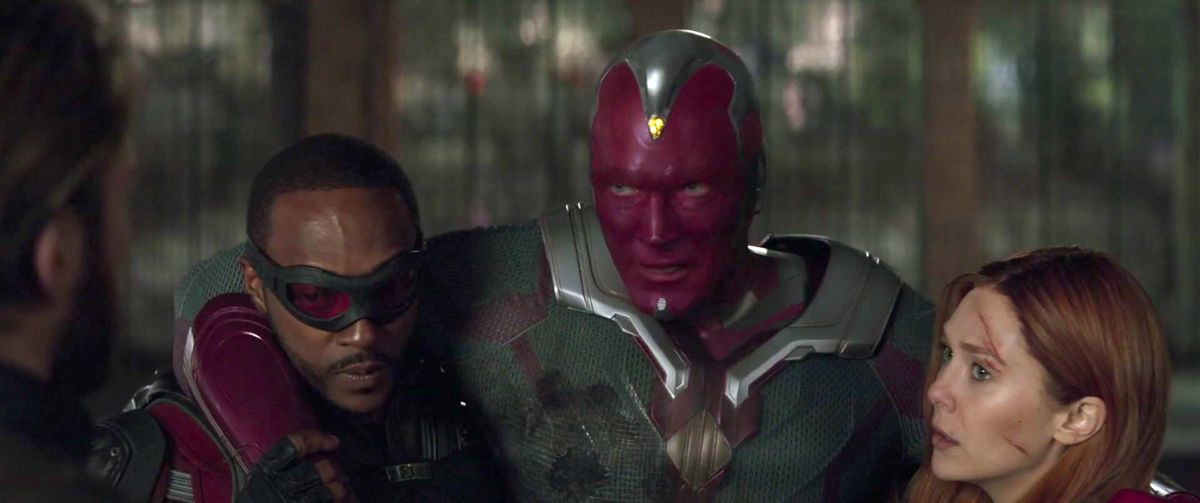 falcon, the vision, and scarlet witch in avengers infinity war
