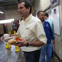 Rep. Ray Ward, R-Bountiful, gets a tray of food at St. Vincent de Paul Dining Hall in Salt Lake City on Tuesday, Sept. 19, 2017.
