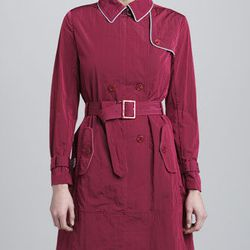 """Armani Collezioni piped trench coat in raspberry at Neiman Marcus, <a href=""""http://www.neimanmarcus.com/Armani-Collezioni-Piped-Trench-Coat-Raspberry-/prod162440230___/p.prod?icid=&searchType=MAIN&rte=%252Fcategory.service%253FNtt%253Draincoats%2526pageSi"""