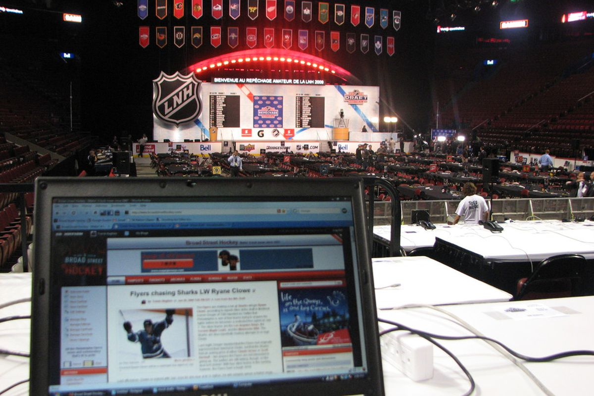 """Let's play another edition of """"spot the Flyers draft table!"""""""