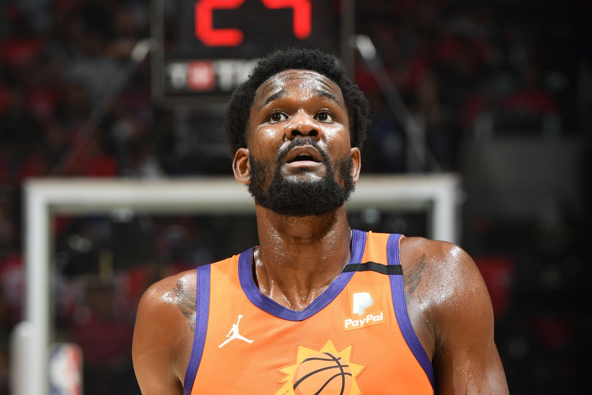 Deandre Ayton of the Phoenix Suns looks on during the game against the LA Clippers during Game 4 of the Western Conference Finals of the 2021 NBA Playoffs on June 26, 2021 at STAPLES Center in Los Angeles, California.