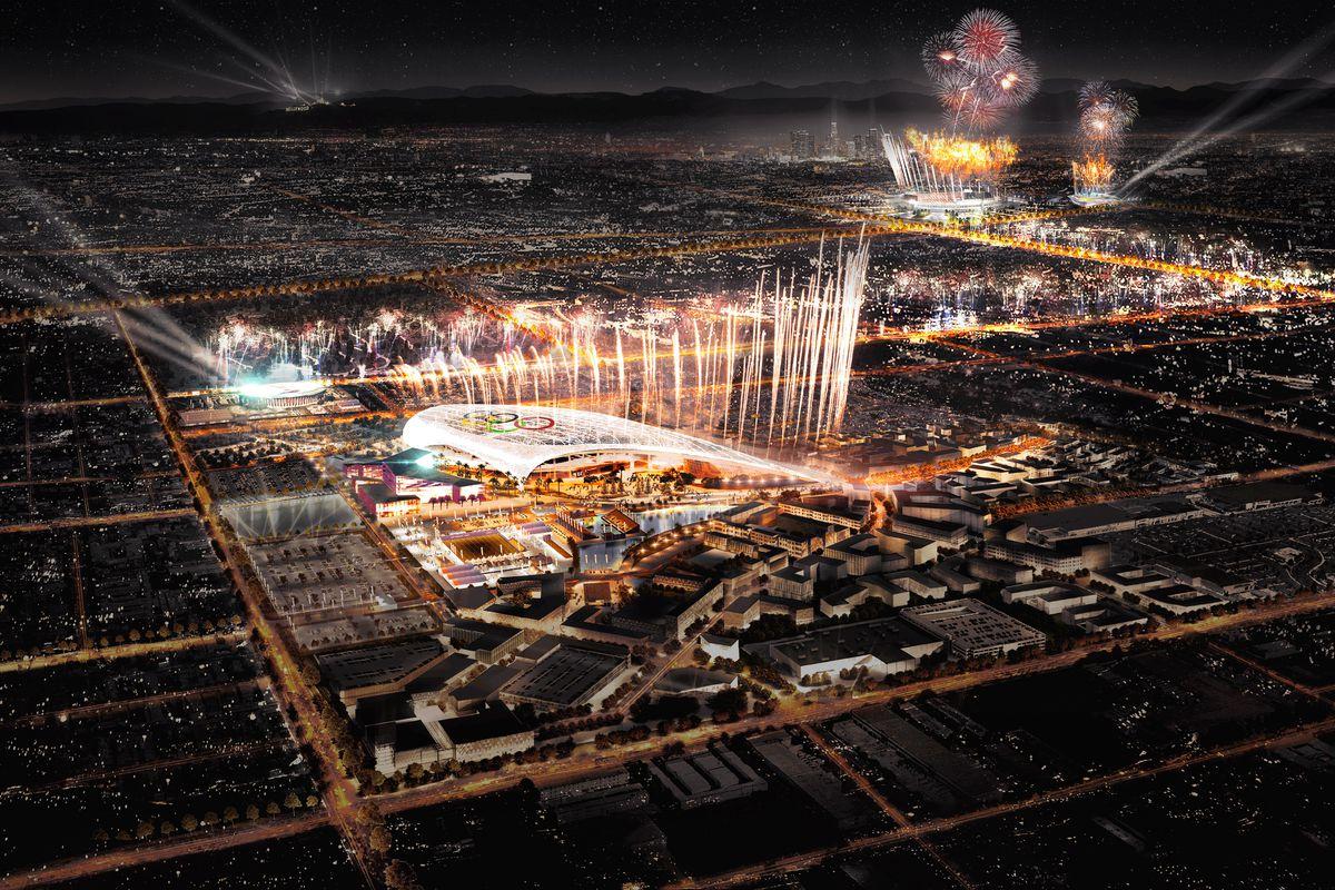 Fireworks at Inglewood Stadium and Coliseum