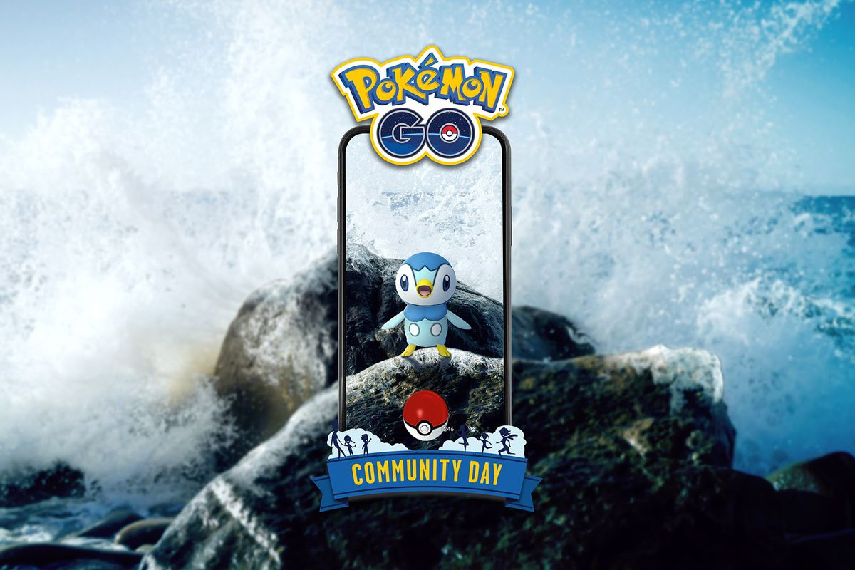 A Piplup stands on a rock with waves crashing overhead