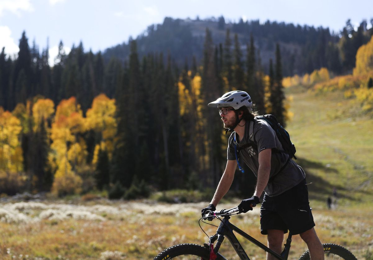 Isaac Miller bikes at Solitude Mountain Resort in Big Cottonwood Canyon on Friday, Oct. 1, 2021.