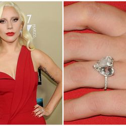 The best part of Lady Gaga's heart-shaped engagement ring from fiancé Taylor Kinney — which is 10 carats and made by Lorraine Schwartz — is hidden: the couples' initials, both in sparkling pavé, on the back of the band.