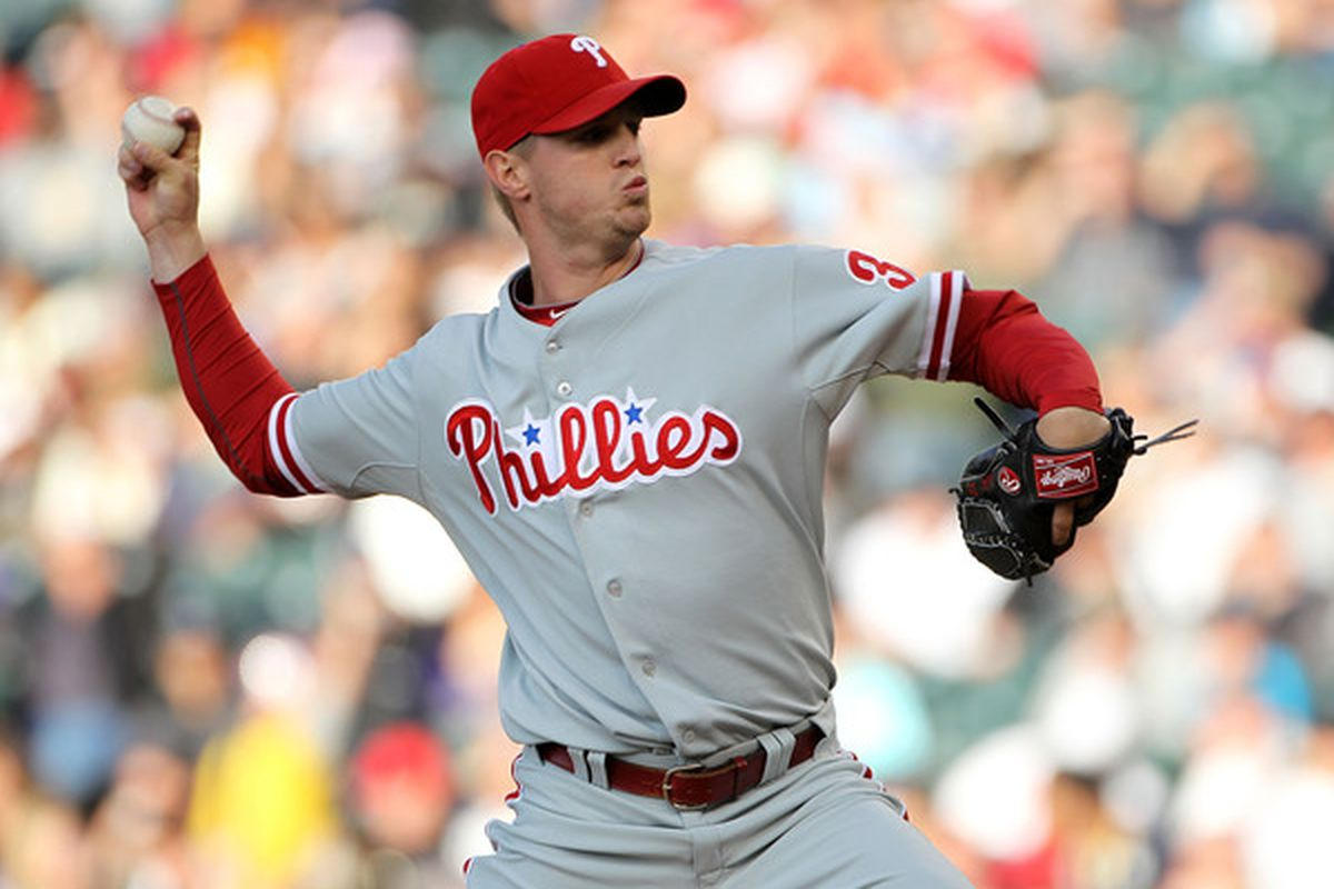 DENVER - MAY 10:  Starting pitcher Kyle Kendrick #38 of the Philadelphia Phillies delviers against the Colorado Rockies at Coors Field on May 10, 2010 in Denver, Colorado.  (Photo by Doug Pensinger/Getty Images)