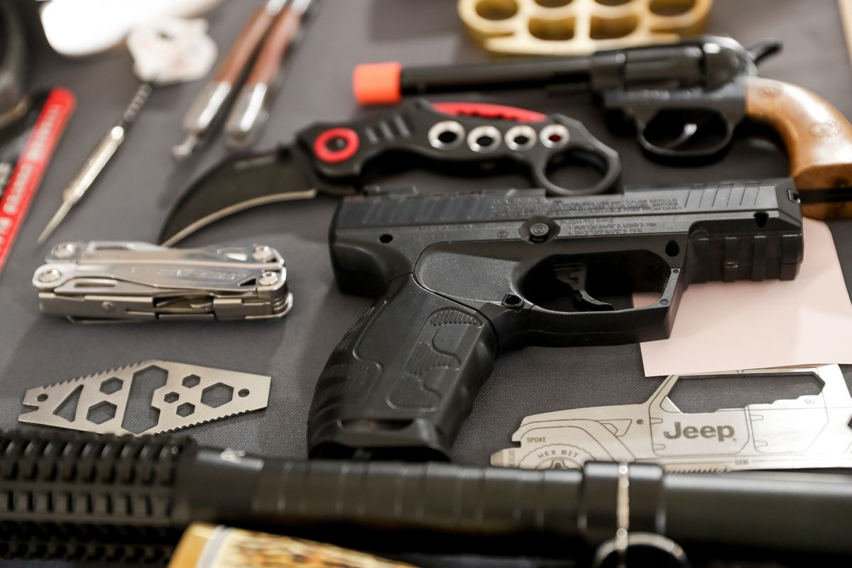 Items confiscated at Transportation Security Administration checkpoints at the Salt Lake City International Airport.