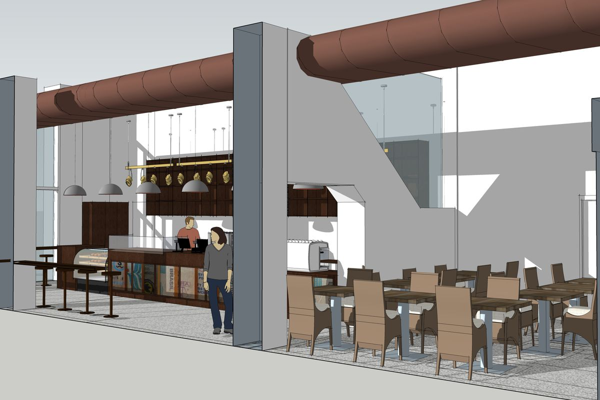 Rendering of the upcoming South End location of Cuppacoffee