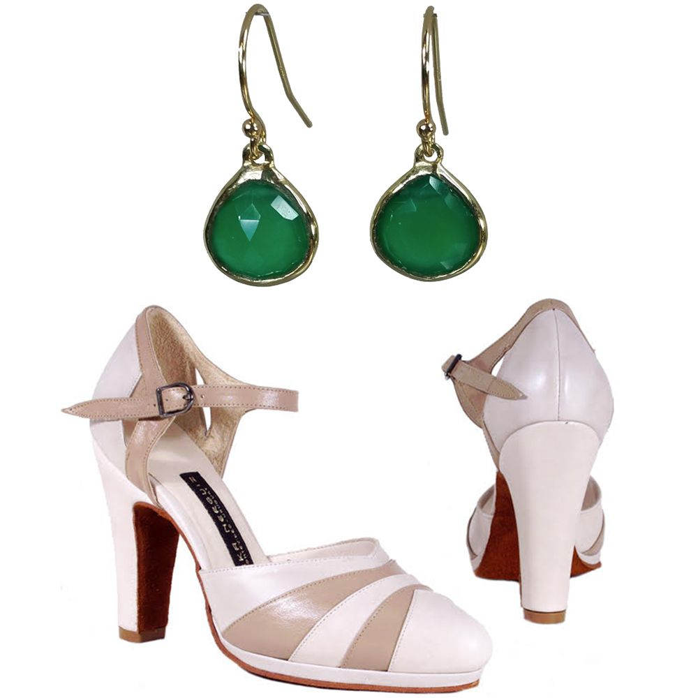 Kyle Chan Design 14 Karat Yellow Gold Green Onyx Earrings, $605. Worldtone Arika Nerguiz Monte Paseo Heels, $245.