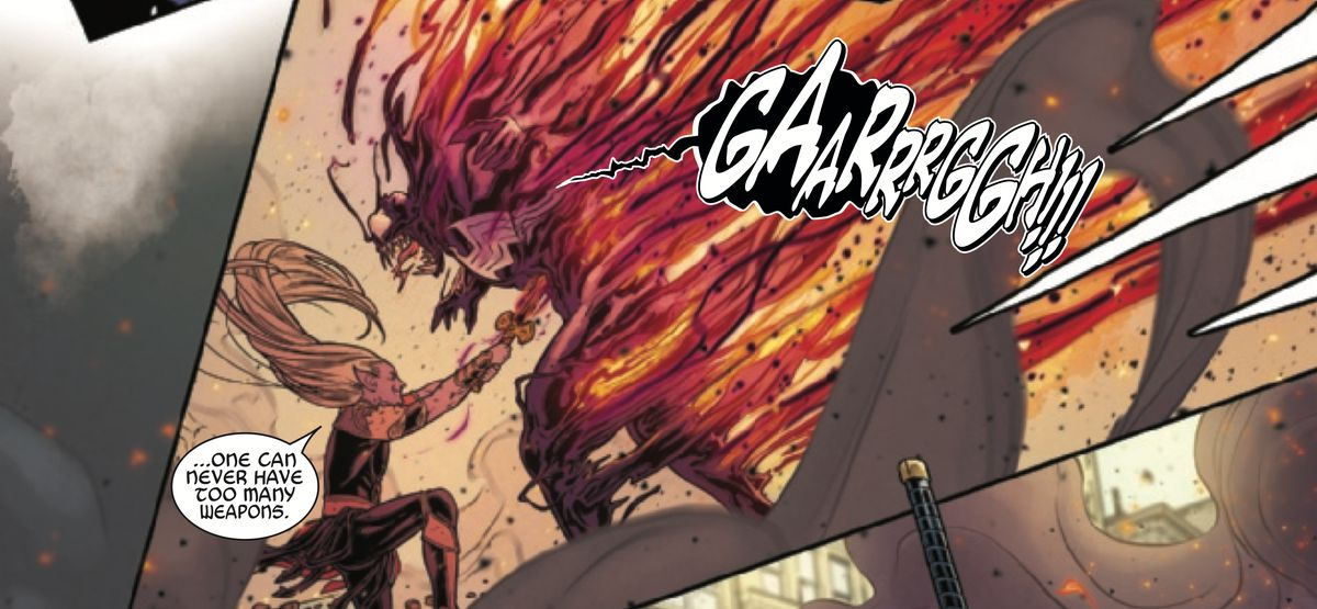 """""""One can never have too many weapons,"""" Malekith says as he blasts the symbiote off of Eddie Brock in War of the Realms #3, Marvel Comics (2019)."""