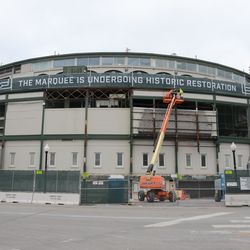 1:27 p.m. Another view of the front of the ballpark, with some of the panels now removed -