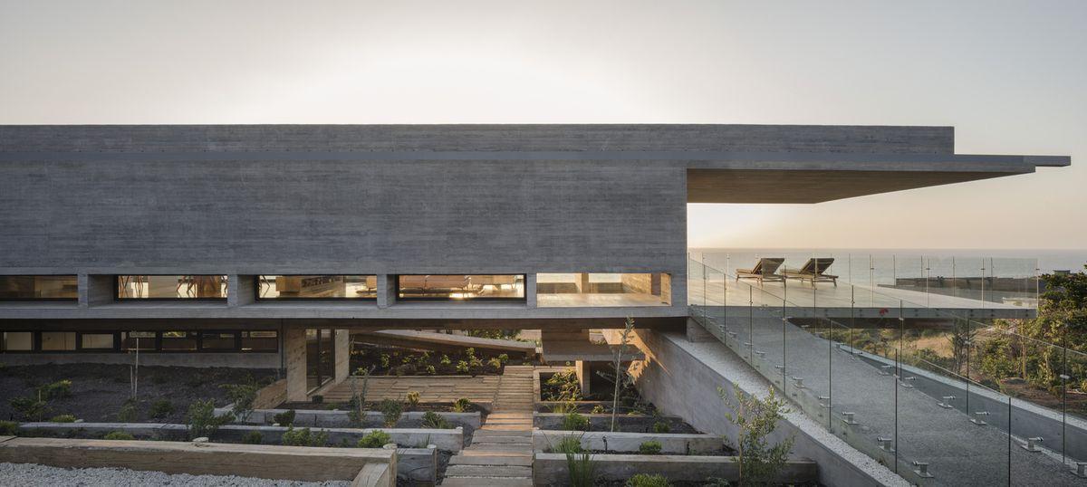 concrete house at dusk