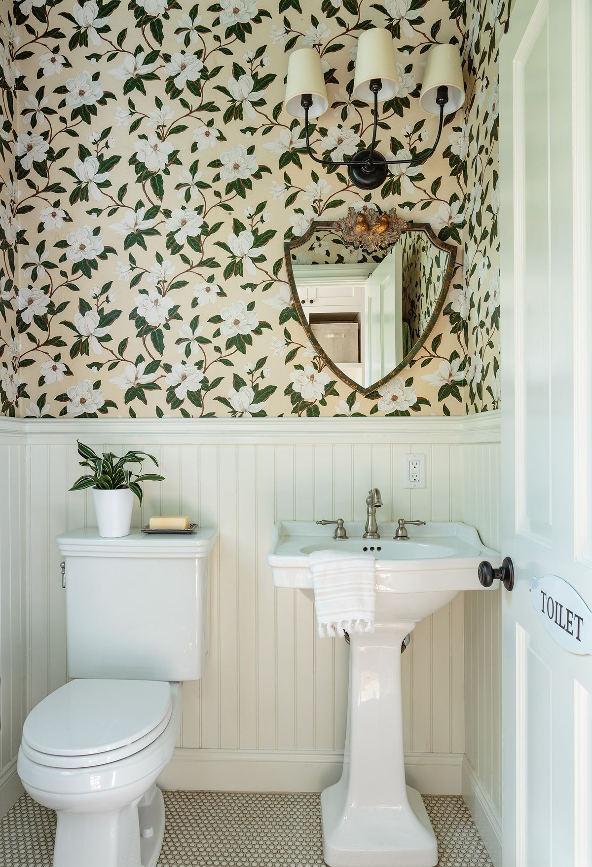 Cape Cod-style house remodel in Los Angeles, CA, 2nd floor powder room
