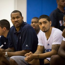 Rasheed Wallace and Peyton Siva stare down the referees