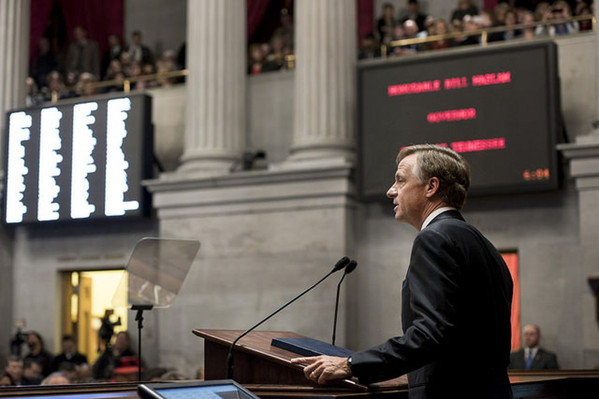 Tennessee Gov. Bill Haslam delivers his 2015 State of the State address, in which he proposed allocating a 4 percent pay raise for Tennessee teachers.