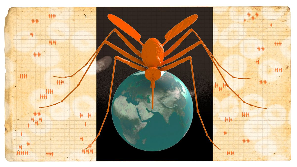 Illustration of a giant mosquito and the globe