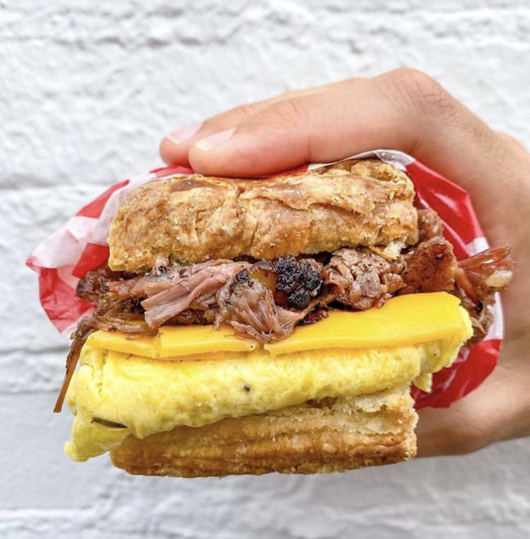 A barbecue breakfast biscuit from Sloppy Mama's