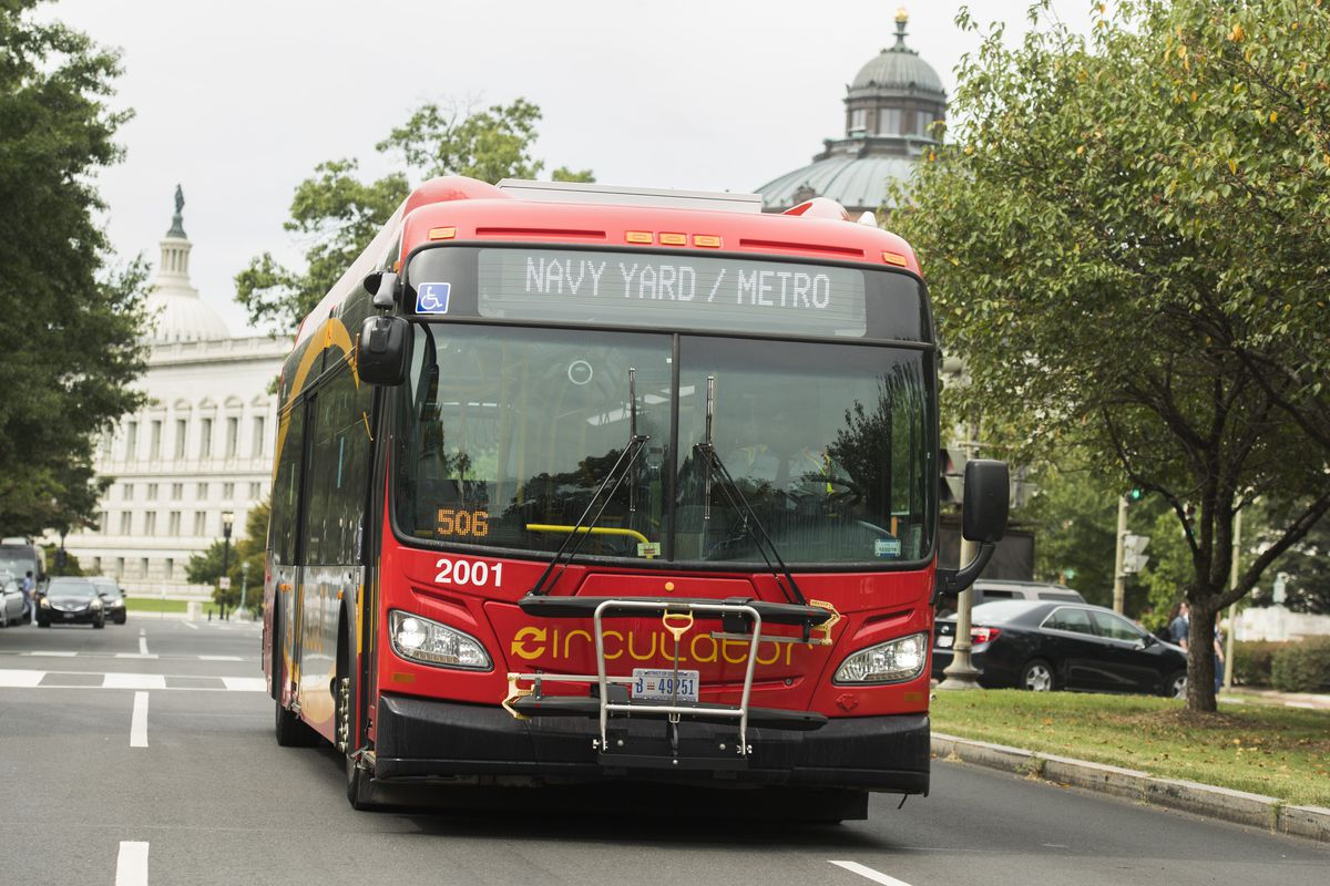 A red bus rides through a city, flanked by trees.
