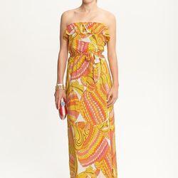 "<b>Trina Turk for Banana Republic</b> Pisces strapless patio dress, <a href=http://bananarepublic.gap.com/browse/product.do?cid=37745&vid=1&pid=905648"">$115</a>"
