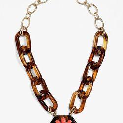 Long Embellished Tortoise Pendant, $46