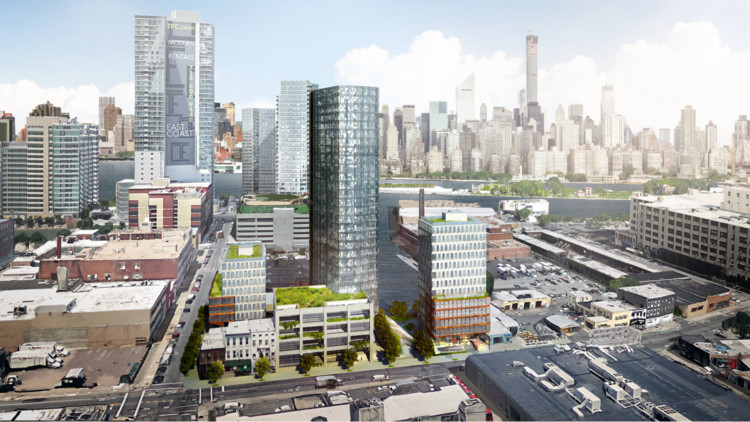 An aerial view of Long Island City. There are buildings of varying heights.