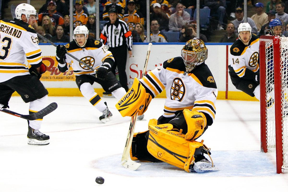 Marty Turco and his Velveeta Pads in the Bruins' March 31, 2012 win over the Islanders