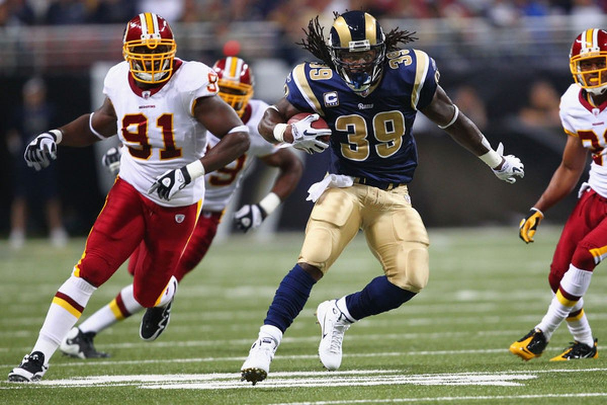 Steven Jackson went down.  St. Louis didn't.  The Rams beat the Redskins 30-16 for their first victory of the 2010 season, Sept. 26, 2010 in St. Louis Missouri.  (Photo by Dilip Vishwanat/Getty Images)