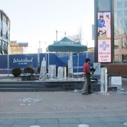 Some ice sculpting was going on, of course during a 50-degree day