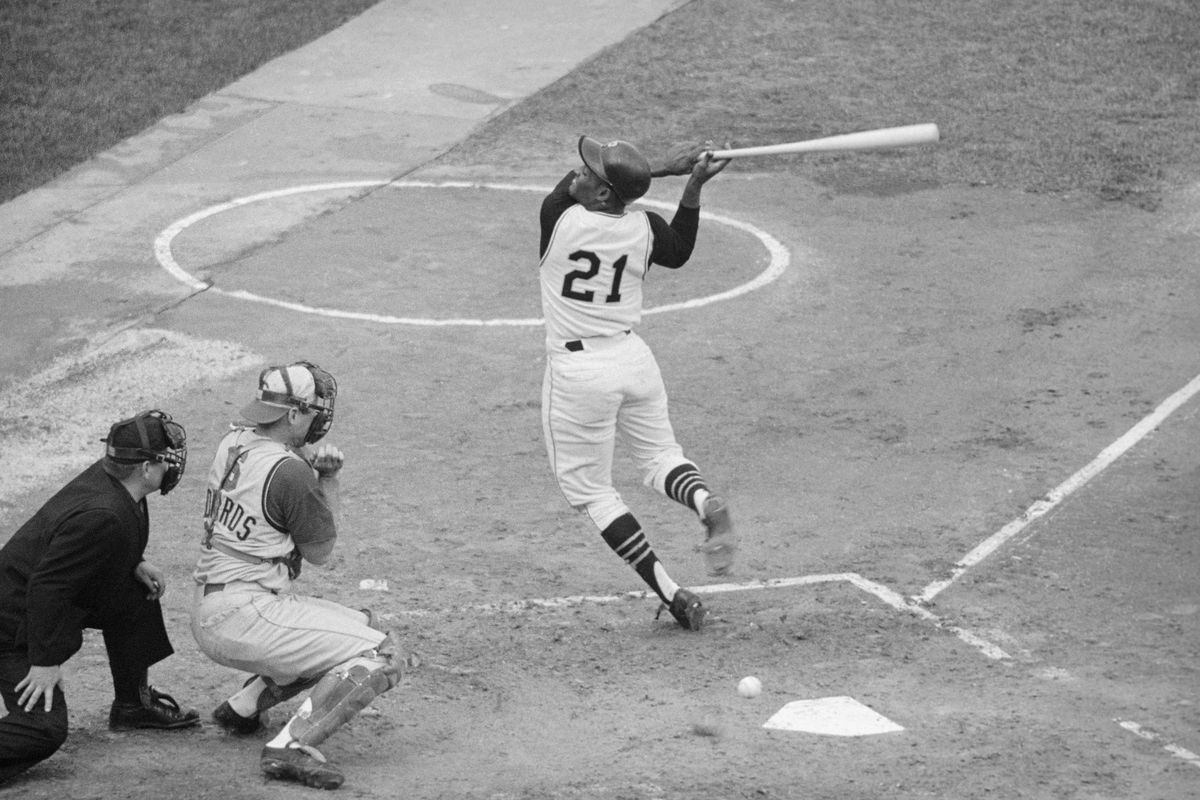 Roberto Clemente Hit In Back By Ball