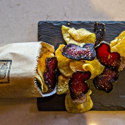 South African biltong mixed with salt-and-vinegar potato chips at Biltong Bar.