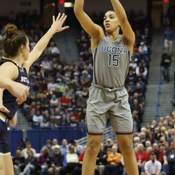 UConn's Gabby Williams (15) shoots during the Notre Dame Fighting Irish vs UConn Huskies women's college basketball game in the Women's Jimmy V Classic at the XL Center in Hartford, CT on December 3, 2017.